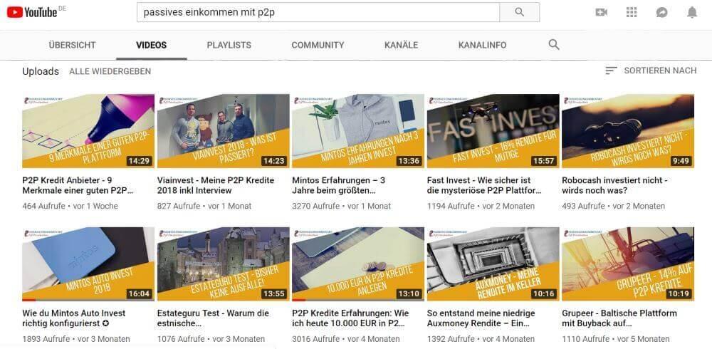 P2P-Kredite YouTube