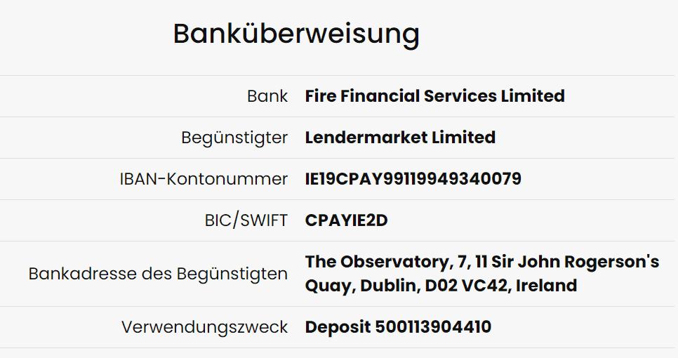 lendermarket einzahlung