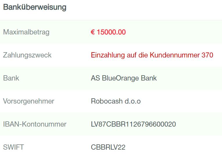 einzahlung robo.cash
