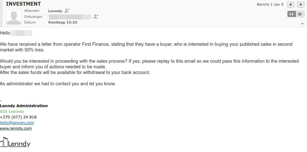 lenndy investor mail