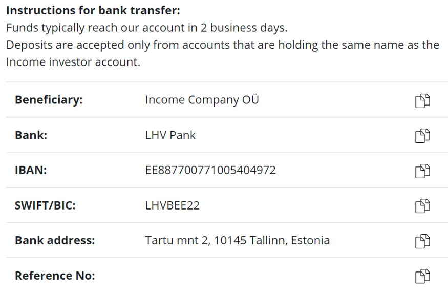 income einzahlung